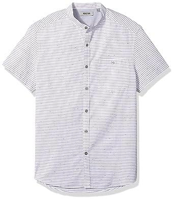 3b3fbc0480 Kenneth Cole REACTION Men's Short Sleeve Band Collar NEP Stripe Shirt,  White, Medium