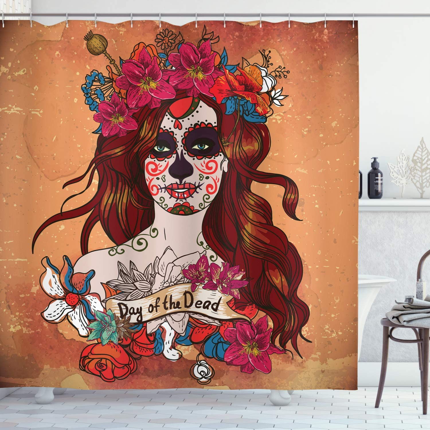 Ambesonne Day of The Dead Shower Curtain, Dia de Los Muertos Spanish Culture Mexican Skull Art, Cloth Fabric Bathroom Decor Set with Hooks, 75