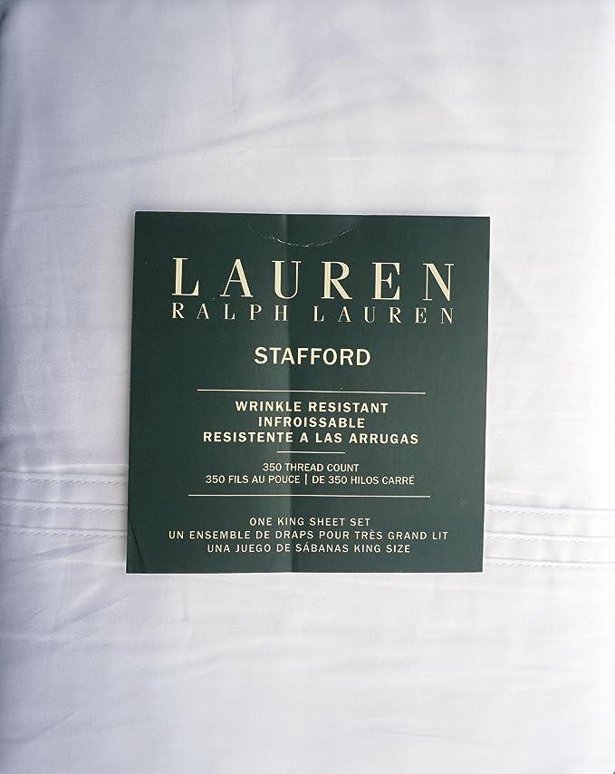 Amazon.com: Lauren Ralph Lauren 4 Piece Cotton Wrinkle Resistant King Size Sheet Set Solid White -- Stafford: Home & Kitchen