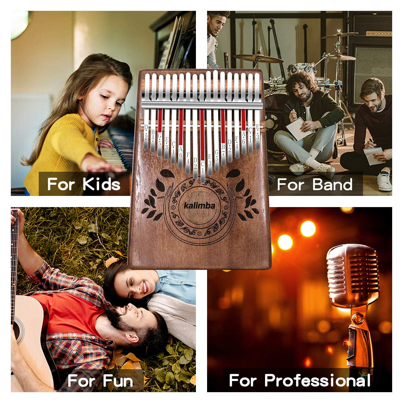 UNOKKI Kalimba 17 Keys Thumb Piano with Study Instruction and Tune Hammer, Portable Solid African Wood Finger Piano, Gift for Kids Adult Beginners (Chocolate Brown). by UNOKKI (Image #5)