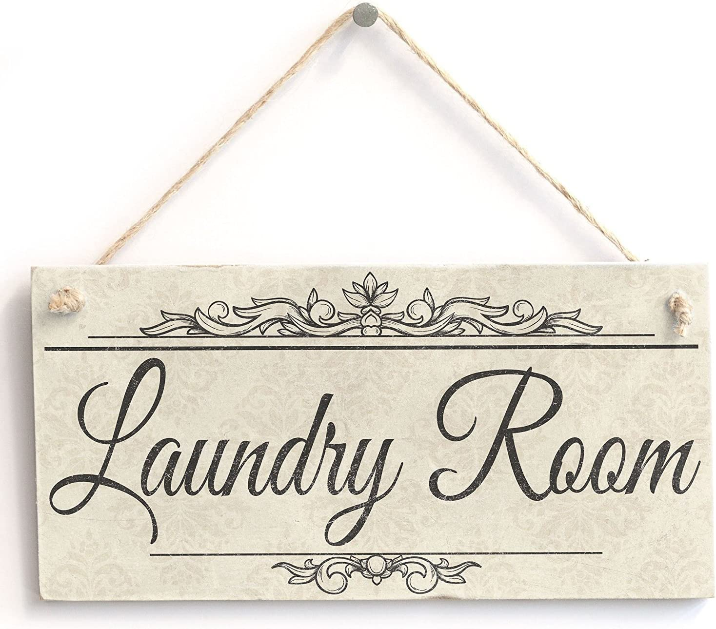 """Laundry Room - Handmade Shabby Chic Wooden Sign / Plaque Wooden Hanging Sign 4"""" X 8"""""""