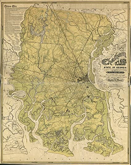 Map Of Georgia United States.Amazon Com Vintage 1875 Map Of Chatham County State Of Georgia