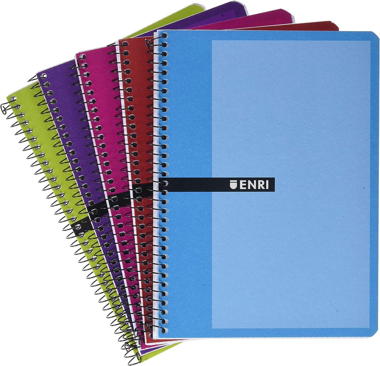Enri Pack de 5 Cuadernos A5, Tapa Dura, 80 Hojas, Cuadrícula 4x4, Surtido colores aleatorio