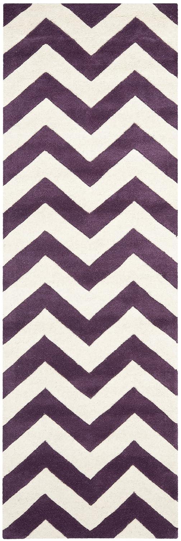 Safavieh Chevron-Streifen Teppich, CHT715, Gewebter Polyester Läufer, Lila/Elfenbein, 68 X 213 cm