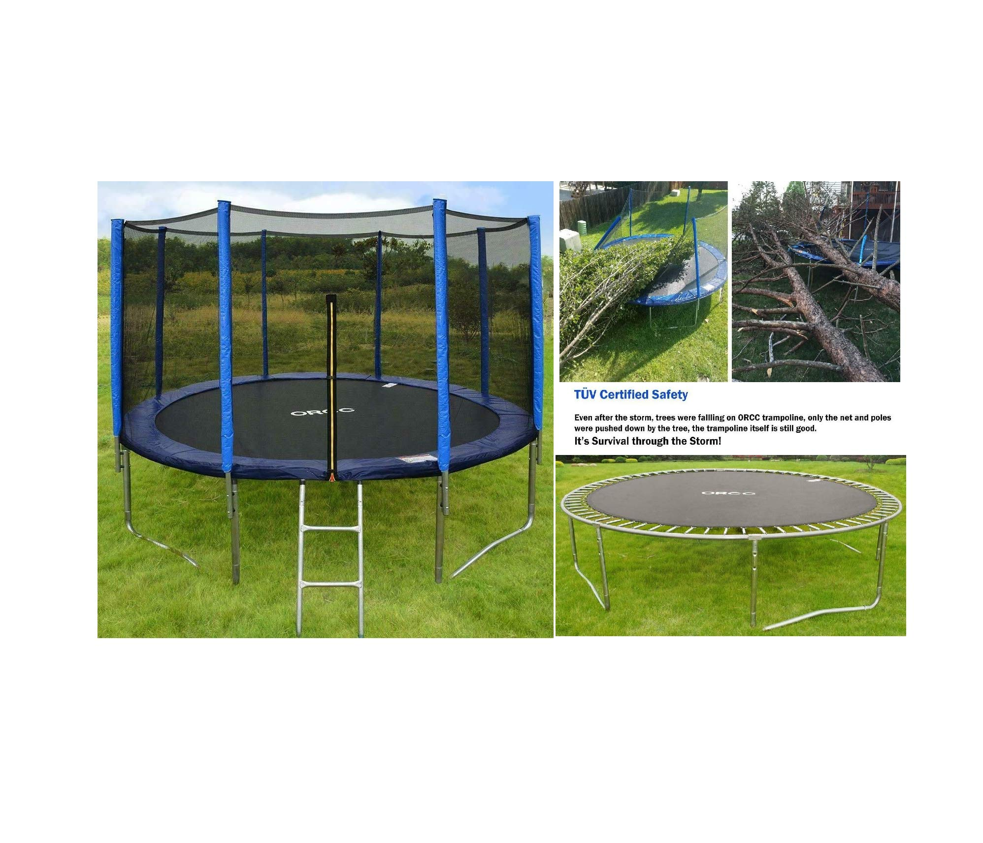 High Reliable Safety 14-8/9FT Trampoline w/Enclosure Net Pad Ladder Lawn Stakes New Quick Arrive
