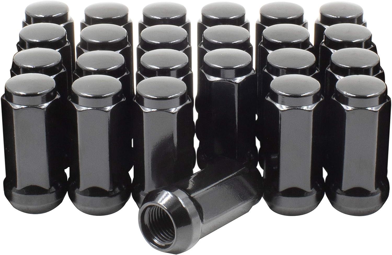 """14x1.5 Closed End Bulge Acorn Lug Nuts Set - Cone Seat - 19mm (3/4"""") Hex Wheel Lug Nut M14x1.50 (24 Lug M14x1.50, Black)"""