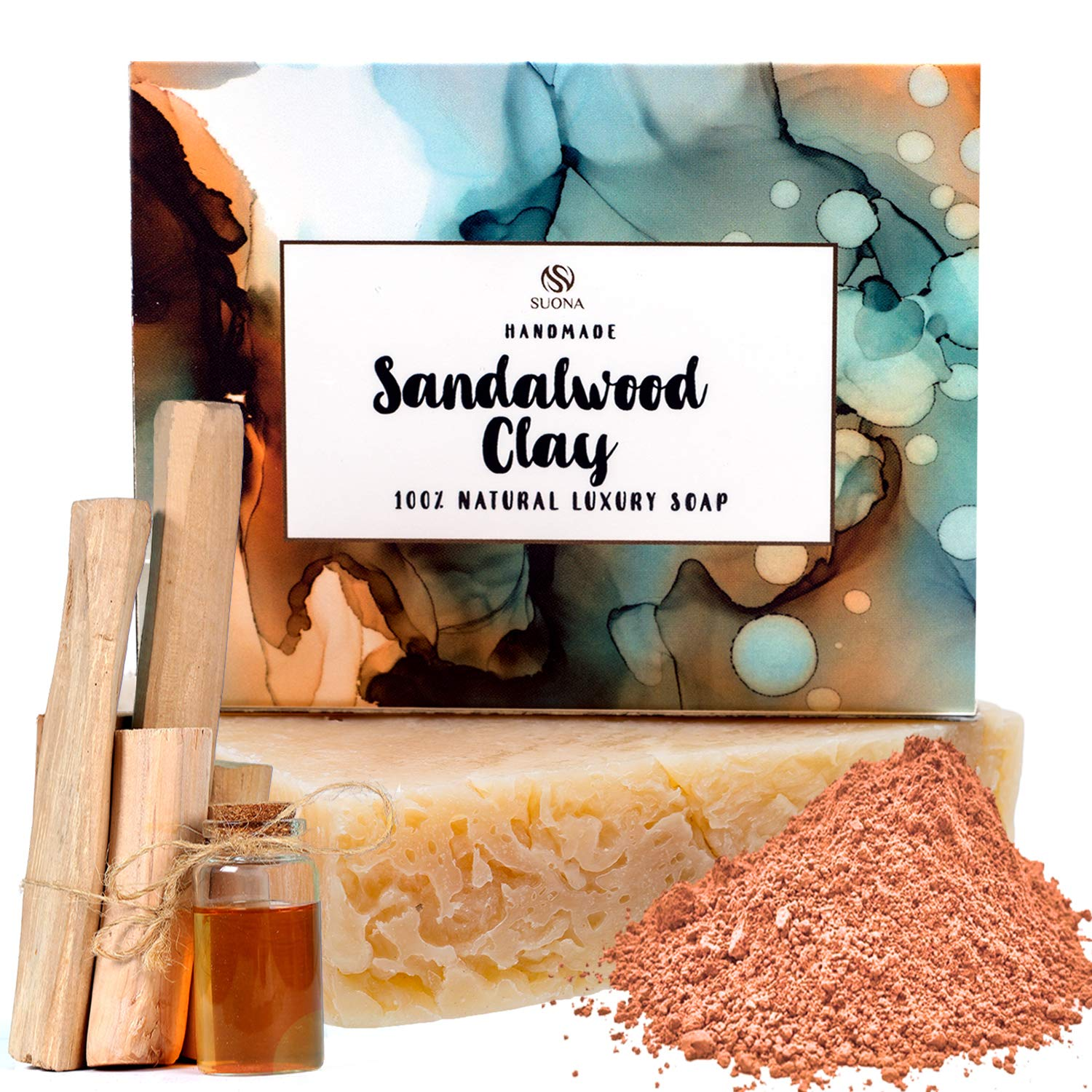 Sandalwood Goats Milk Soap -100% Natural Moisturizing Face & Body Wash-Gentle Exfoliating Soap Bar with Coconut Oil,Shea Butter,Kaolin Clay + Patchouli.Handmade Organic Cold Pressed Soap. Top Gift Idea.