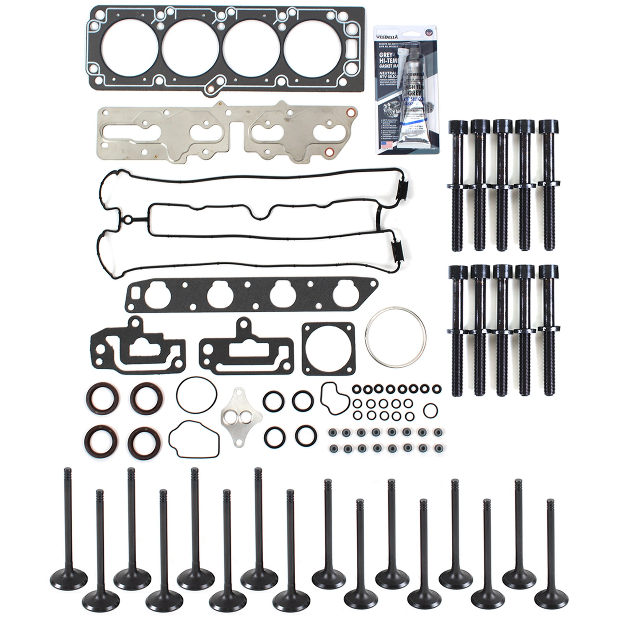 New CH8921HBSIVK Cylinder Head Gasket Set, Head Bolts Kit, Intake & Exhaust Engine Valves, RTV Gasket Silicone for 04-08 2.0L Chevrolet Optra / Suzuki Forenza Reno Engine Code A20DMS by CNS EngineParts