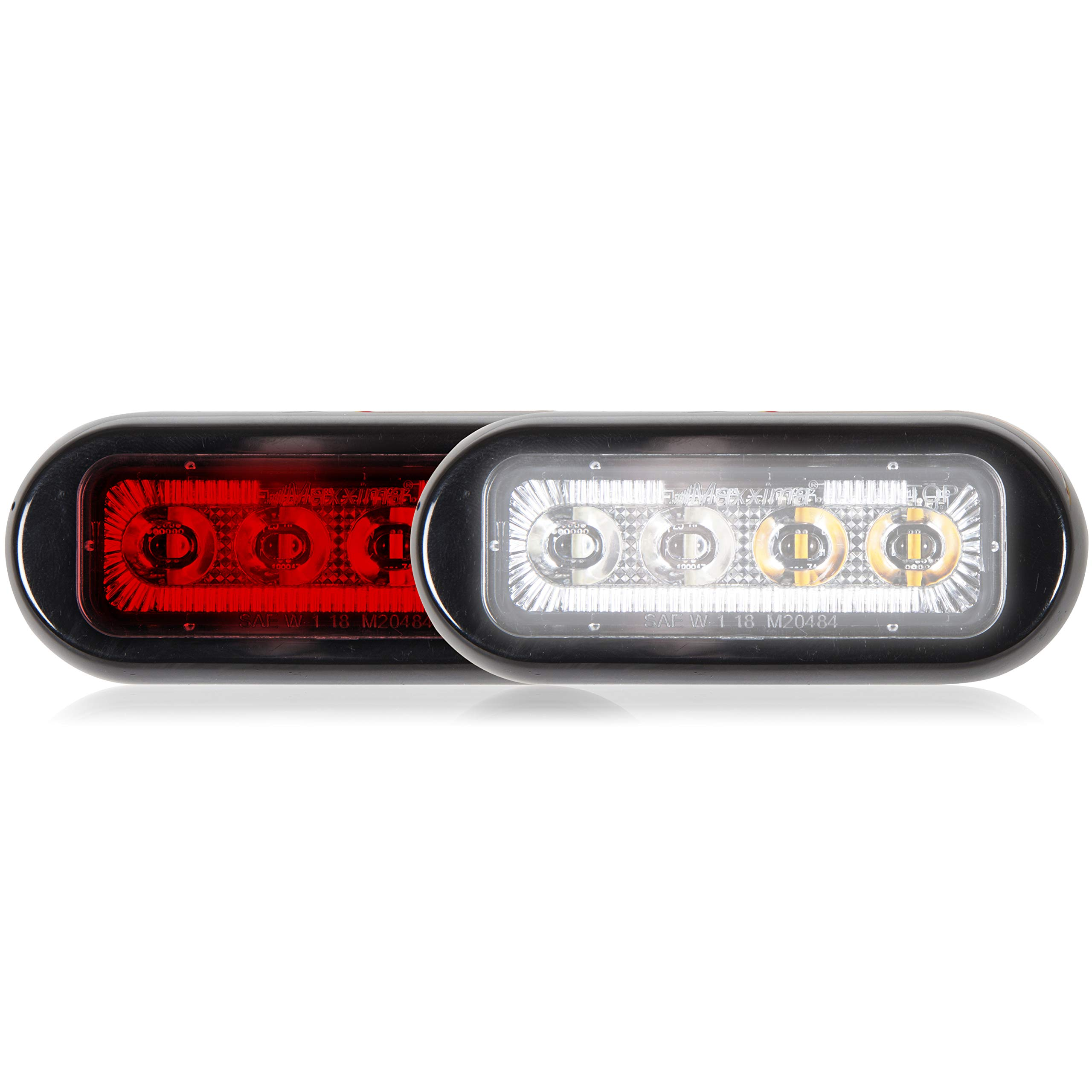 Maxxima M20484RWCL-DC 8 LED Rectangular Surface Mount Warning & Emergency Dual Color Red/White Clear Lens