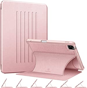 "CaseBot Magnetic Stand Case for iPad Pro 11"" 2020 & 2018 [Support 2nd Gen Pencil Charging] - Multi-Angle Shockproof Rugged Soft TPU Cover with Pencil Holder, Auto Wake/Sleep Rose Gold"