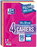 Oxford Openflex Lot de 4 Cahiers Agrafes 24x32 96p 90g Grands Carreaux