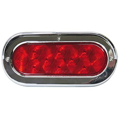 Kaper II L50-0093 L50-0093 Red/Chrome 6' Oval LED Tail Lamp with Grommet and Bezel, 3 Pack: Automotive