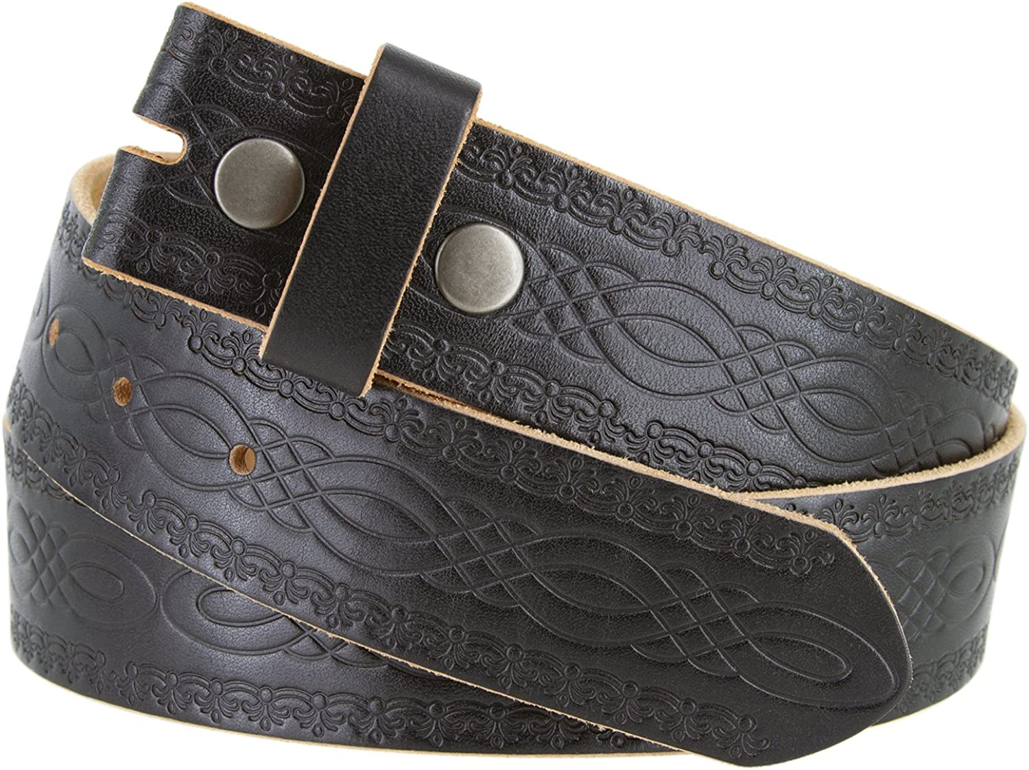 BS085 Full Grain Tooled Leather Belt Strap 1 1//2 Wide