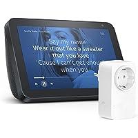 Echo Show 8, Tela de color antracita + Amazon Smart Plug (enchufe inteligente wifi), compatible con Alexa