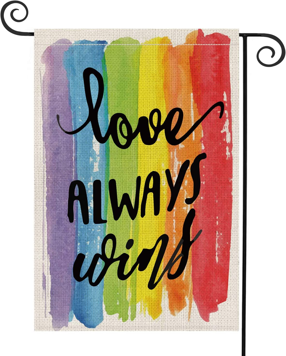 AVOIN Love Always Wins Rainbow Garden Flag Vertical Double Sided Pride Gay Pride Lesbian LGBT, Pansexual Burlap Flag Yard Outdoor Decoration 12.5 x 18 Inch