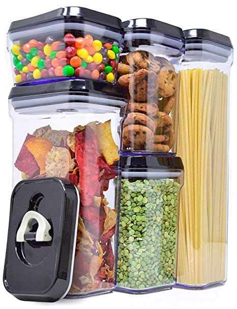 38a6fd43b Amazon.com  Zeppoli Air-Tight Food Storage Container Set - 5-Piece Set -  Durable Plastic - BPA Free - Clear Plastic with Black Lids  Kitchen   Dining