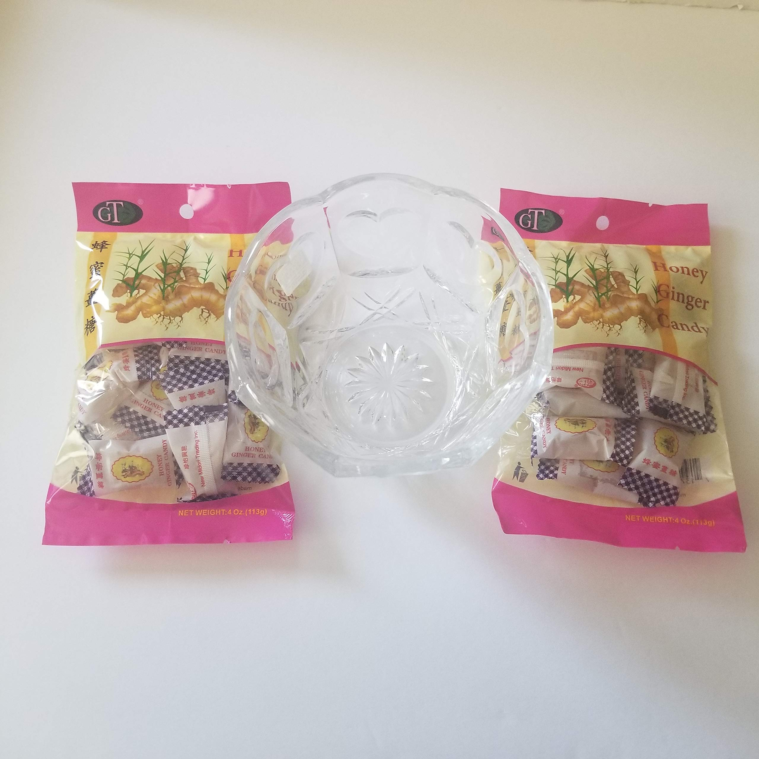 Honey Ginger Soft Candy! 2 Packs 4 Oz Each! Beautiful Lead Crystal Candy Dish Included! This Honey Ginger Soft Candy Is A Wholesome Treat! Has Spicy Kick Of Ginger And The Subtle Sweetness Of Honey!