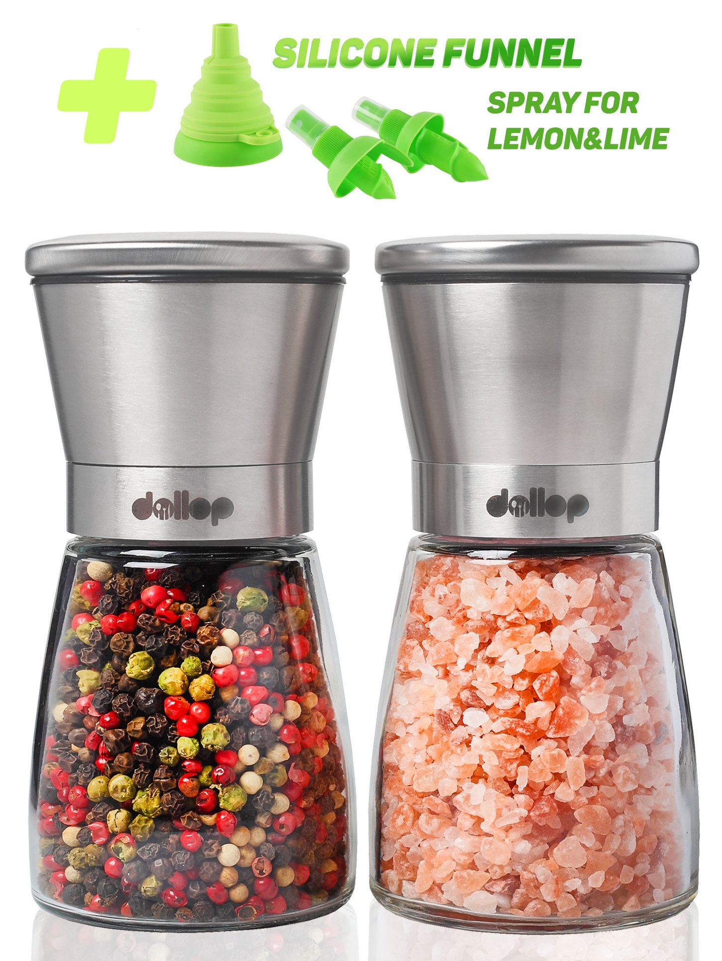 Salt and Pepper Grinder Set – Glass Shakers & Adjustable Ceramic Rotor in 2 Stainless Steel Mills + Silicone Funnel & 2 Citrus Sprayer – Best for Tasty and Healthy Food by Dollop