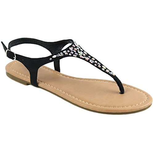 ad21b12e1 Women s T Strap Thong Gladiator Strappy Rhinestone Glitter Flip Flops  Sandals (7
