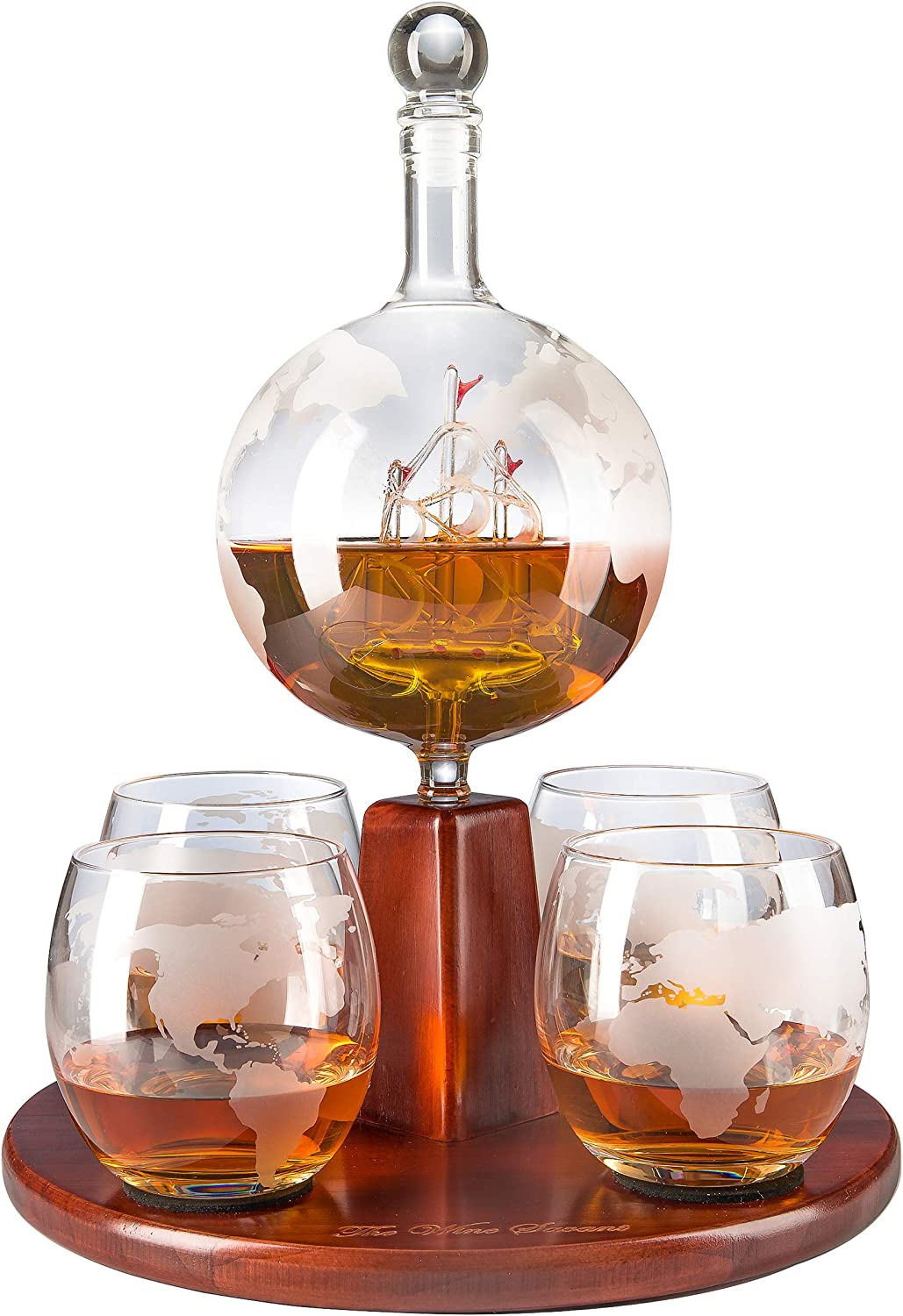 The Wine Savant Whiskey Decanter 750mL, World Decanter Globe Decanter with Antique Boat - 4 World Map 10oz Glasses