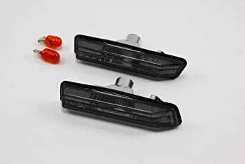 BLACK SMOKED SIDE MARKER INDICATOR LIGHT REPEATERS BMW E34 5 SERIES INC BULBS