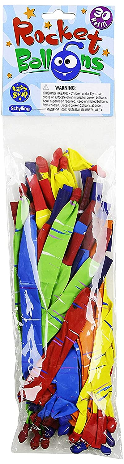 2 Pack Assorted Colors Schylling Rocket Balloons with Pump /& Refill Pack Gift Set Bundle