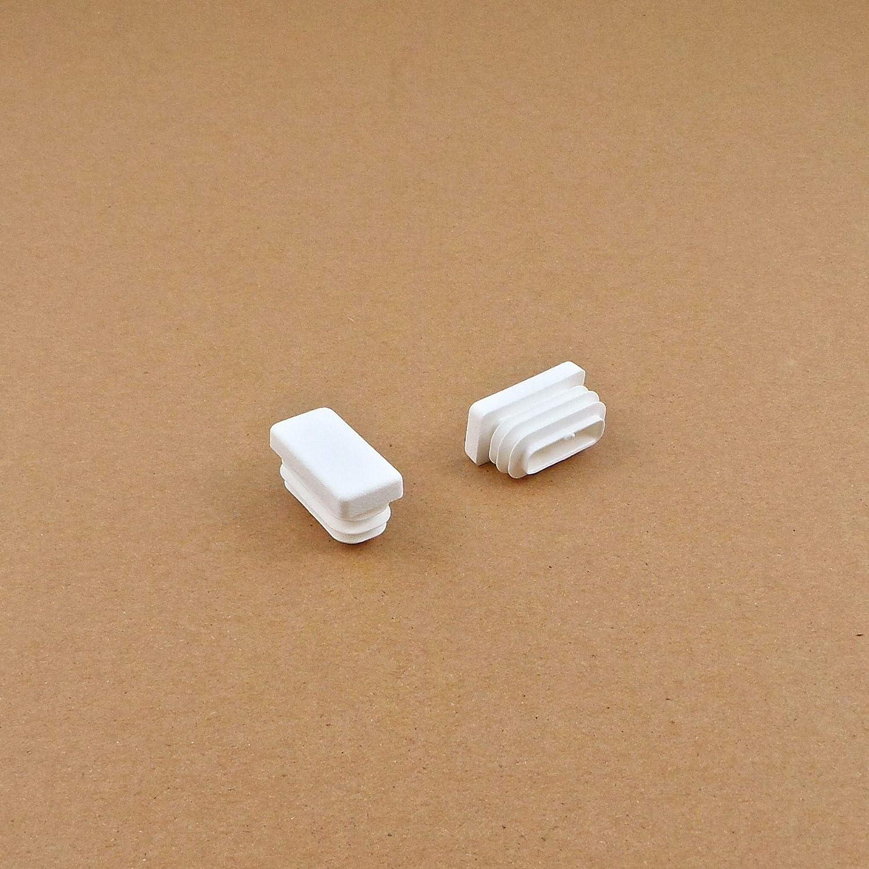 BIANCO 4 piezas EPG230 ajile Contera acanalada para tubo rectangular 30 x 15 mm