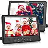"WONNIE 10.5"" Dual Portable DVD Player for Car Twins CD Players Play Same or Two Different Movies with 5-Hour Rechargeable Battery,2 Mounting Brackets, Support USB/SD Card Reader (2 X DVD Players)"