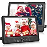 """WONNIE 10.5"""" Dual Portable DVD Player for Car Twins CD Players Play Same or Two Different Movies with 5-Hour Rechargeable Battery,2 Mounting Brackets, Support USB/SD Card Reader"""