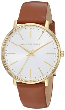2f81c15d6 Michael Kors Women's Stainless Steel Quartz Watch with Leather Calfskin  Strap, Brown, 18 (