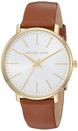 c706cda88704 Michael Kors Women s Stainless Steel Quartz Watch with Leather Calfskin  Strap
