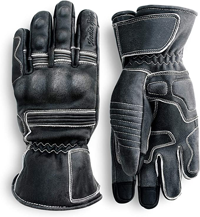 Premium Leather Motorcycle Gloves Brown Full Gauntlet with Mobile Phone Touchscreen by Indie Ridge