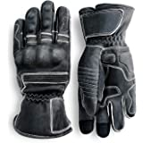Pre-Weathered Premium Leather Motorcycle Gloves (Black) Knuckle Protection with Mobile Phone Touchscreen by Indie Ridge…