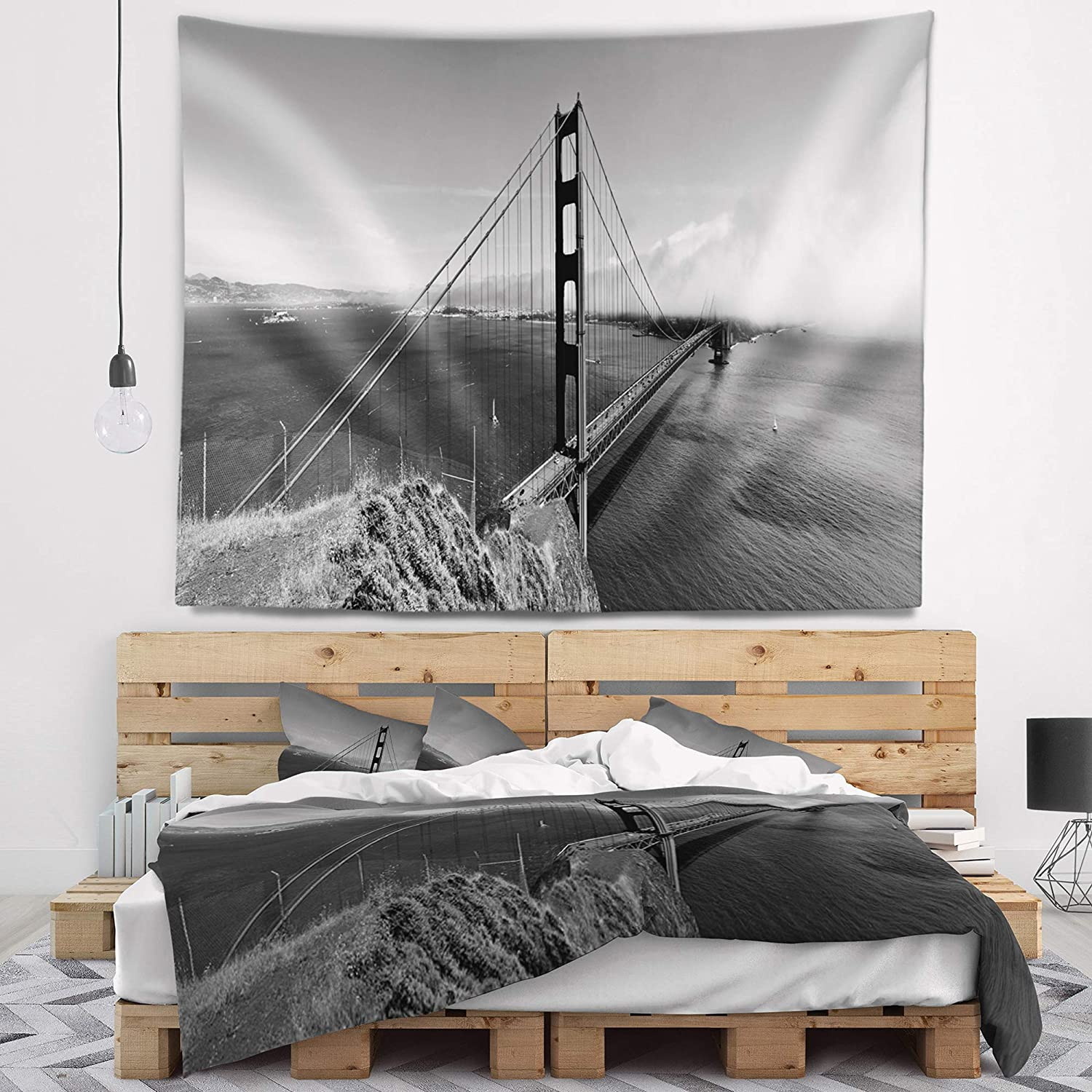 x 32 in 39 in Designart TAP10031-39-32  Golden Gate Gray Panorama Sea Bridge Blanket D/écor Art for Home and Office Wall Tapestry Medium in