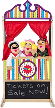 Melissa & Doug Deluxe Puppet Theater (Sturdy Non-Tip Base, Plush Curtains, 52 ″ H × 18″ W × 24.75″ L, Great Gift for Girls an