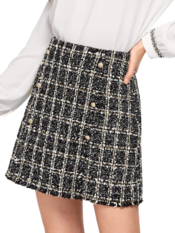 1black WDIRARA Women's High Waist Above Knee Double Breasted Tweed Short Mini Skirt