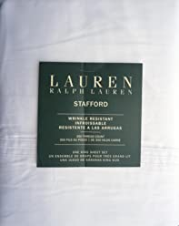 Lauren Ralph Lauren 4 Piece Cotton Wrinkle Resistant King Size Sheet Set Solid White --