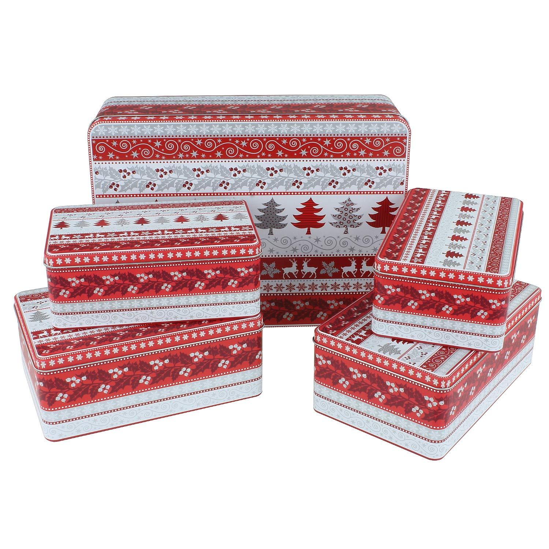 Geschenk Verpackung Stapelbare Keks-Dose MACOSA EB400696 5er Set Geb/äckdosen Pl/ätzchen Vorratsdose Aufbewahrungsdose Blechdose Metall
