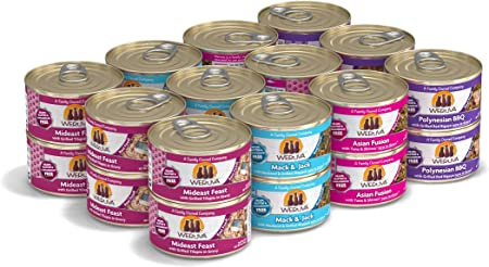 Amazon Com Weruva Classic Cat Food Variety Pack Frisky Fishin Friends Wet Cat Food 3oz Cans Pack Of 24 Pet Supplies