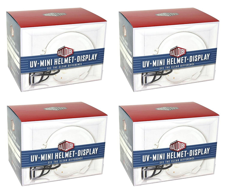 Ballqube Mini Football Helmet Display Case Box w/ UV Protection (4 Pack)