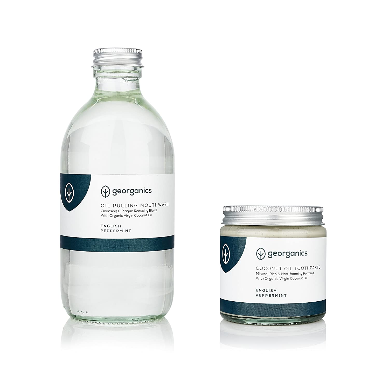 Georganics Organic Whitening Coconut Oil Pulling 300ml & Natural Toothpaste 120ml Set - English Peppermint by georganics: Amazon.es: Salud y cuidado ...