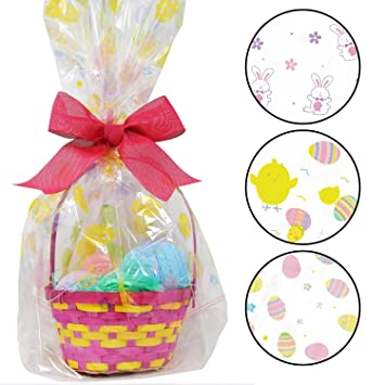 Amazon 6 pack happy easter jumbo cello basket bags 22 x 25 6 pack happy easter jumbo cello basket bags 22 x 25 printed plastic cellophane negle Gallery