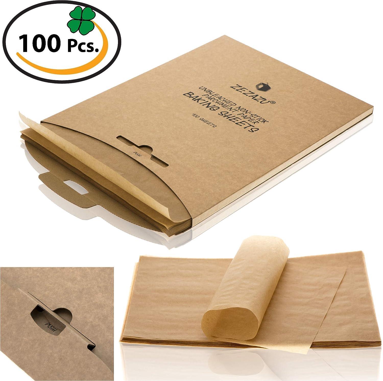 ZeZaZu Parchment Paper Sheets for baking, Precut 12x16 inches - Exact Fit for Half-sheet Baking Pans, Unbleached, Non-stick, RECLOSABLE PACK