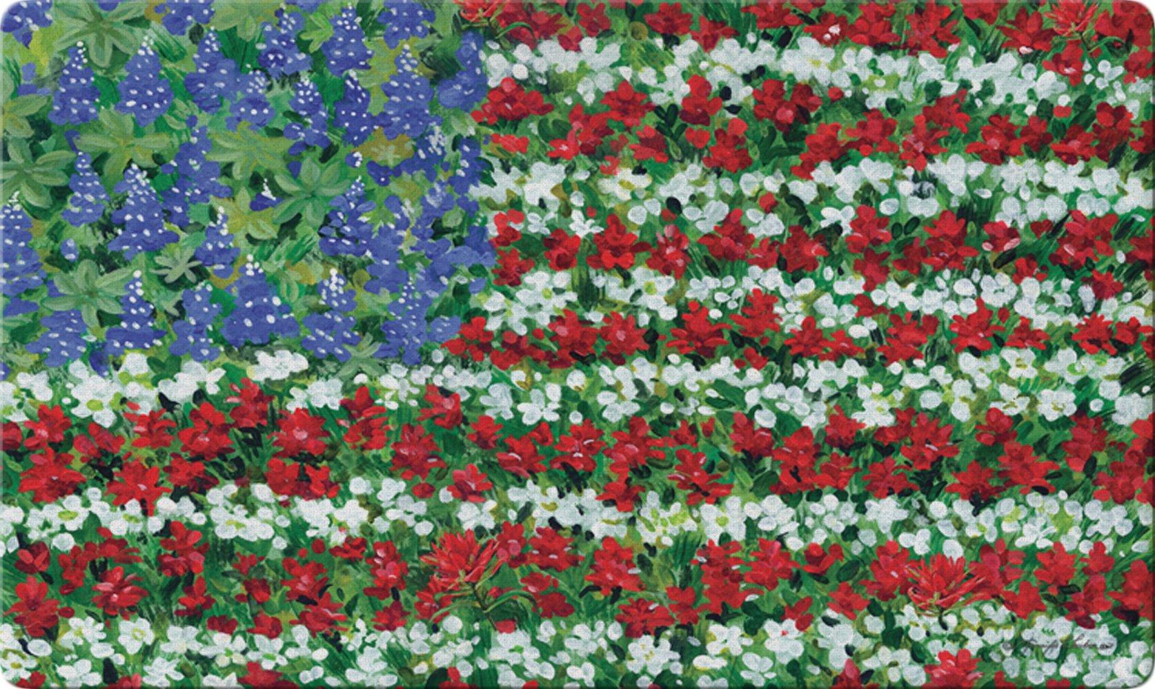 Toland Home Garden Field of Glory 18 x 30 Inch Decorative Floor Mat Flower Patriotic USA America Floral Doormat