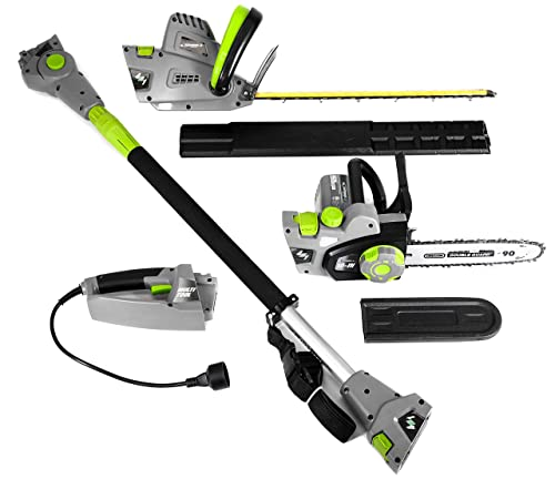 Earthwise CVP41810 7 10 Handheld Saw-4.5 Amp 17 Pole Hedge Trimmer 4-in-1 Multi Tool, Grey