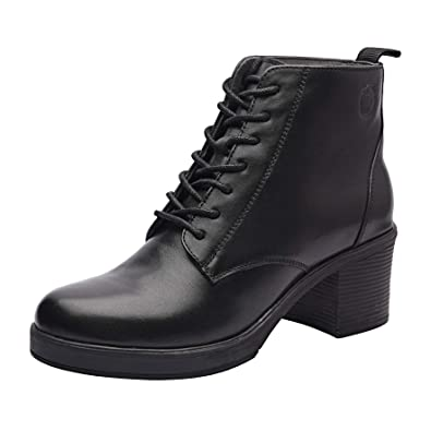 fb339dfe372 Allonsi Tilda Women's Genuine Leather Platform Heel Booties with Mid-Heel,  TPR Sole and Lace-up Closure