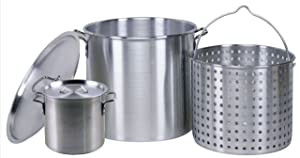 Professional Grade 80 Quart All Purpose Boiling Pot with Basket (3pc) plus a Bonus 12 Quart Stock Pot (2pc) .