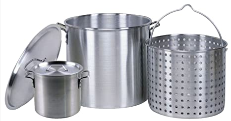 Amazon.com: 80 Quart Crawfish olla hirviendo de aluminio con ...