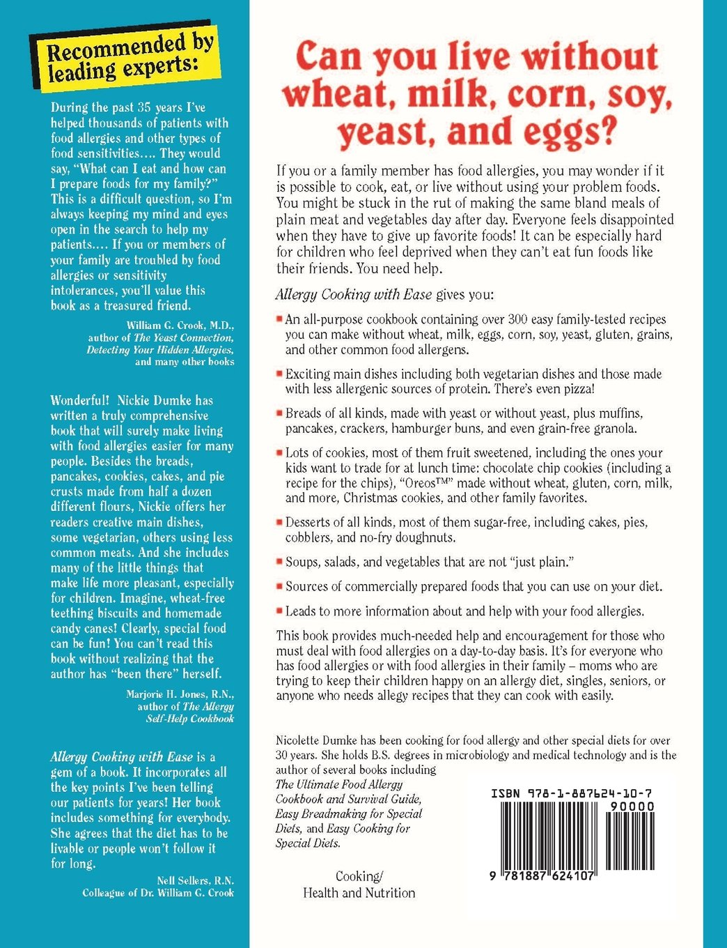 Allergy Cooking with Ease: The No Wheat, Milk, Eggs, Corn, and Soy ...