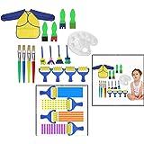 OFKPO 18 Piezas de Esponja de Cepillos de Pintura Set para Niños Gouache Craft Pinceles y Delantal Herramientas de Pintura